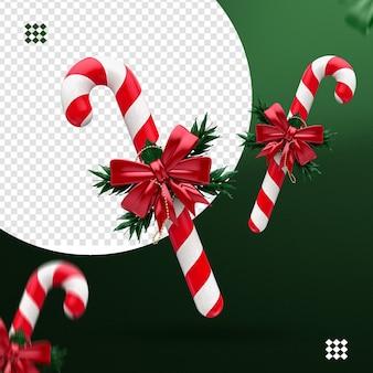 Caramella di natale 3d con rami e fiocco rosso per la composizione