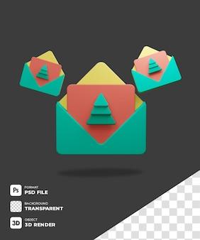 Icona biglietto di natale 3d con sfondo trasparente
