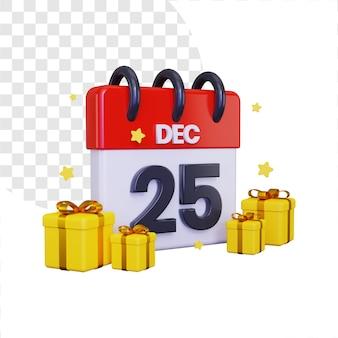 Data di celebrazione di natale 3d con una pila di scatole regalo e