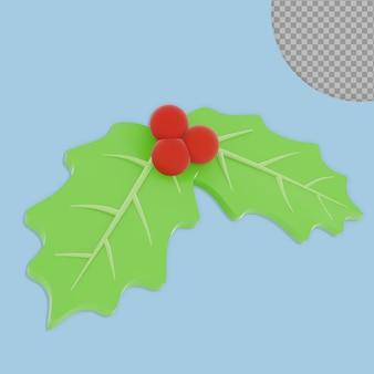 Disegno della rappresentazione della foglia della decorazione di natale 3d isolato