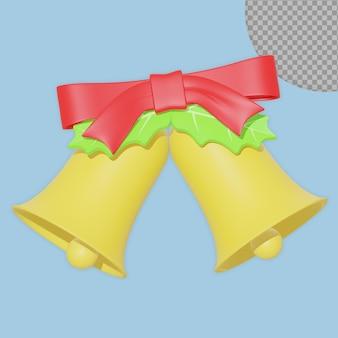 Progettazione della rappresentazione della campana di tintinnio di natale 3d isolata
