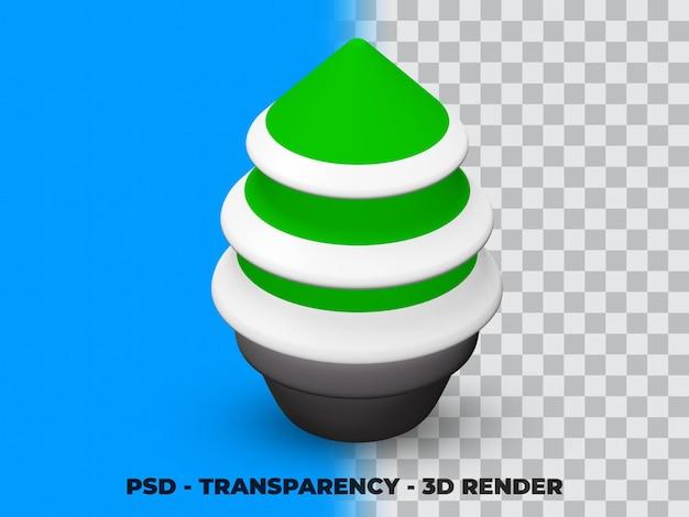 Albero di pino di natale 3d sul vaso con sfondo trasparente premium psd