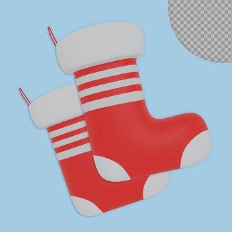 Disegno della rappresentazione del calzino di natale 3d isolato