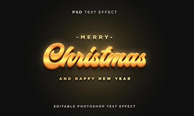Modello di effetto testo natalizio 3d con colore oro