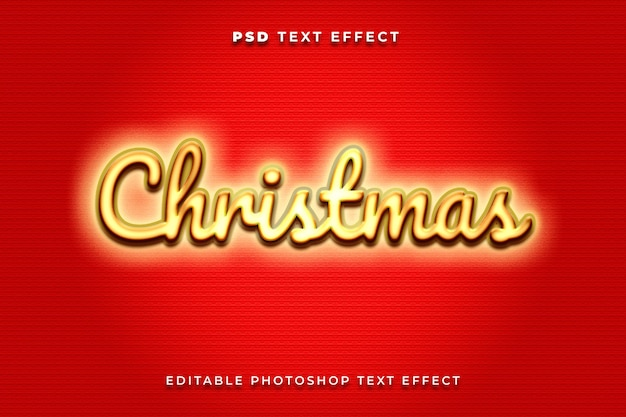 Modello di effetto testo natalizio 3d con colori oro e rosso