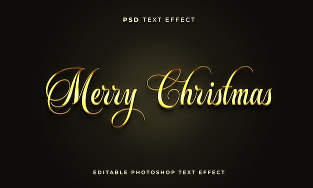 Modello di effetto testo natalizio 3d con colore dorato