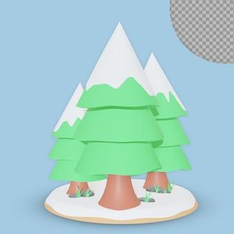 Disegno della rappresentazione dell'albero di natale 3d isolato