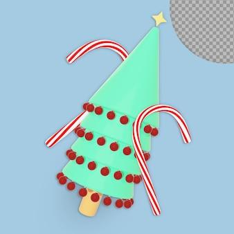 Albero di natale 3d con decorazione e design di rendering di caramelle isolato