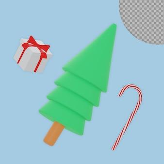 Albero di natale 3d con confezione regalo e design di rendering di caramelle isolato