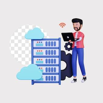 Hosting cloud 3d con personaggio maschile utilizzando laptop