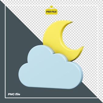 Disegno dell'icona della notte delle nuvole 3d Psd Premium
