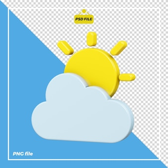 Disegno dell'icona del sole nuvoloso 3d