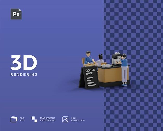 Illustrazione 3d della caffetteria