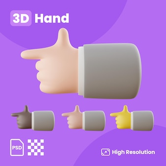 Collezione 3d con le mani che puntano il dito indice a sinistra
