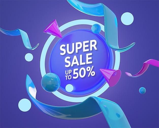 Banner di promozione sconto colorato 3d