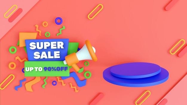 Podio di vendita sconto colorato 3d con testo modificabile