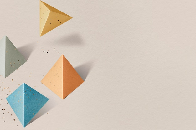 Sfondo con motivi pentaedri di carta colorata 3d