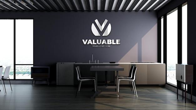 Modello 3d del marchio del logo aziendale nella moderna dispensa dell'ufficio o nell'area della cucina
