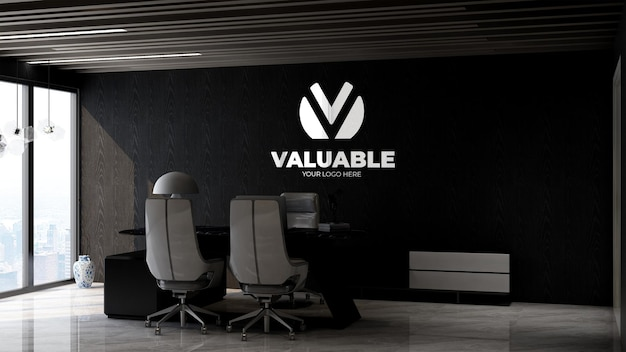 Modello 3d del logo aziendale nella moderna stanza del manager dell'ufficio con un design d'interni elegante