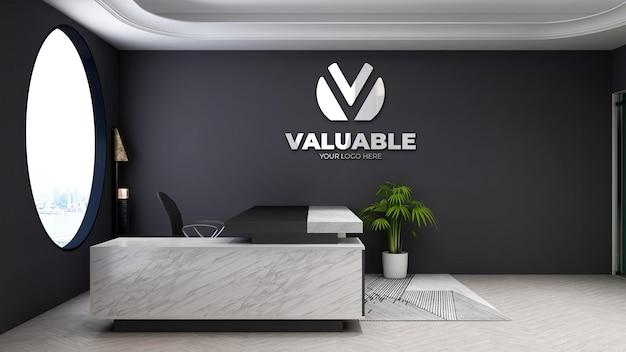 Modello 3d del logo aziendale nella moderna stanza del manager dell'ufficio
