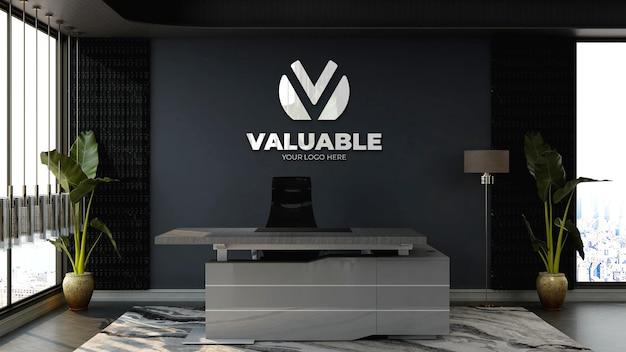 Modello 3d del logo aziendale nella moderna reception o nella sala della reception