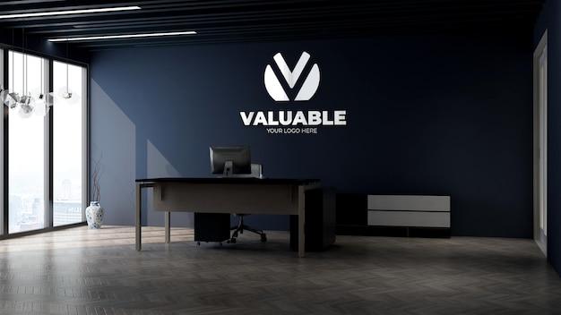 Modello di logo aziendale 3d nella stanza di gestione aziendale dell'ufficio