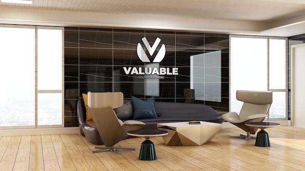 Modello 3d del logo aziendale nella sala d'attesa dell'ingresso dell'ufficio