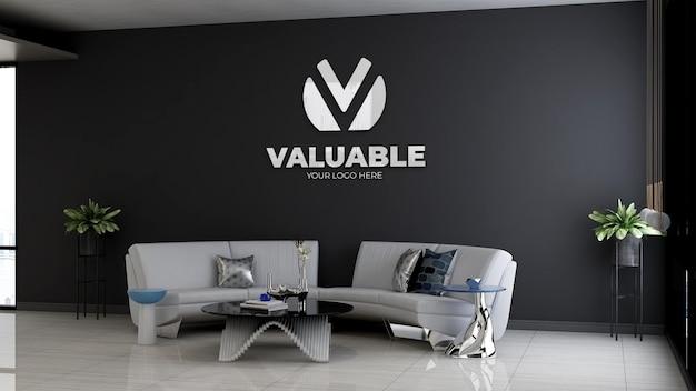 Modello 3d del logo aziendale nella sala d'attesa della hall dell'ufficio con divano e design minimalista