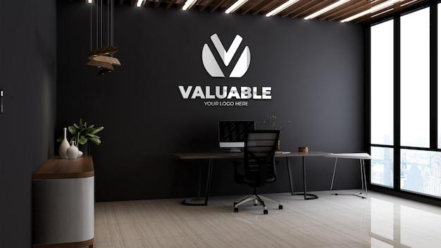 Modello 3d del logo aziendale nel manager dell'ufficio o nella stanza del capo con tavolo e sedia