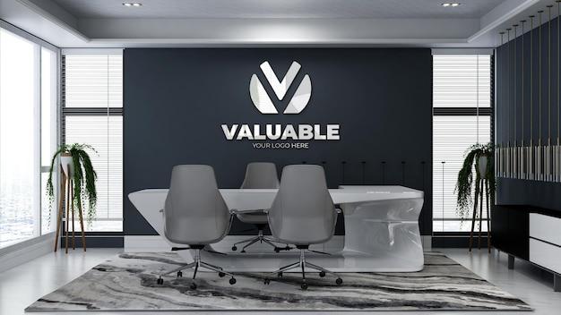 Modello 3d del logo aziendale nella stanza del manager dell'ufficio