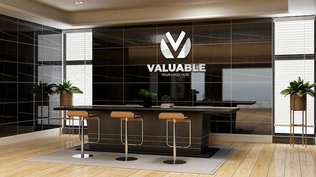 Modello 3d del logo aziendale nello spazio riunioni dell'ufficio con interni di design di lusso