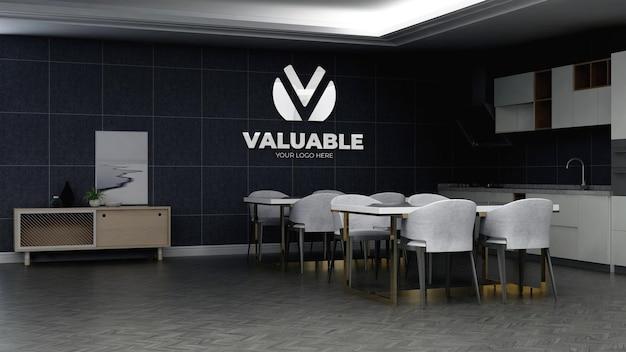 Modello 3d del logo aziendale nell'area della dispensa dell'ufficio
