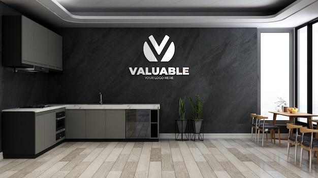 Modello 3d del logo aziendale nella stanza della dispensa dell'ufficio