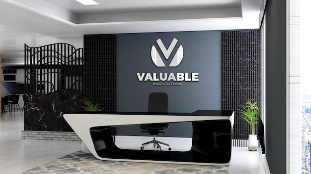 Modello 3d del logo aziendale nella reception dell'ufficio