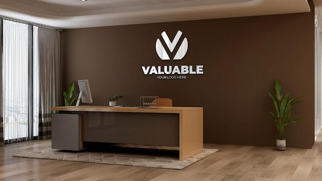 Modello 3d del logo aziendale nella reception dell'ufficio o nella stanza della reception