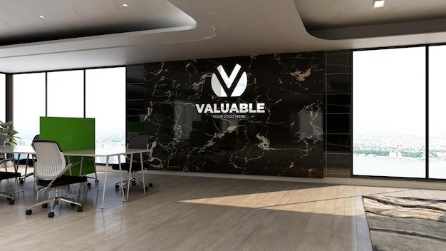 Modello di logo aziendale 3d nell'area di lavoro dell'ufficio con interni di design di lusso