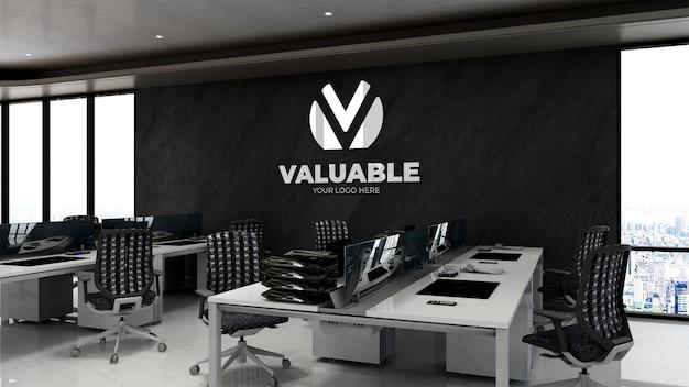 Modello 3d del logo aziendale nell'area di lavoro dell'ufficio con pietra nera wal
