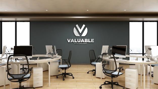 Modello 3d del logo aziendale nell'area di lavoro dell'ufficio