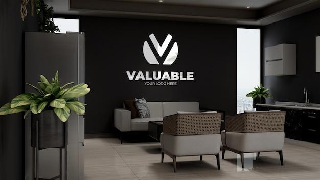 Modello 3d del logo aziendale nella sala d'attesa della hall dell'ufficio in legno con divano