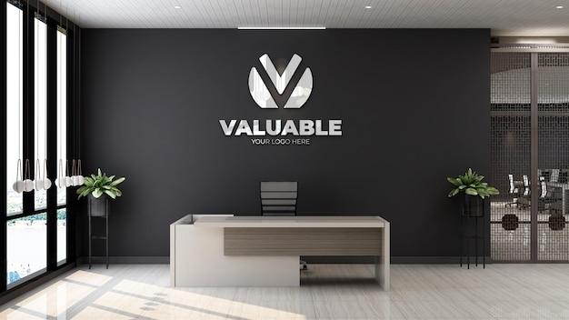 Modello 3d del logo aziendale nella sala di ricevimento dell'ufficio in legno