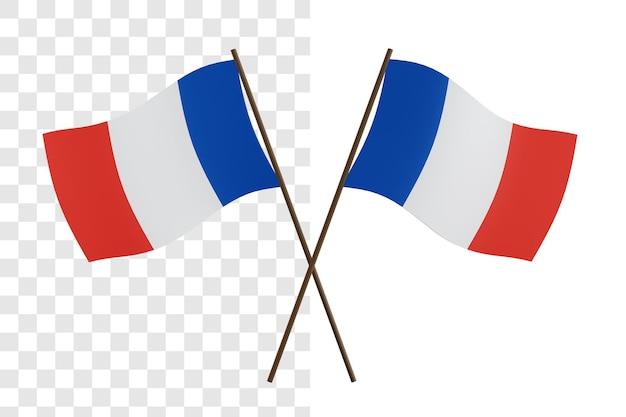 Rendering 3d di concetto della bandiera francese isolata