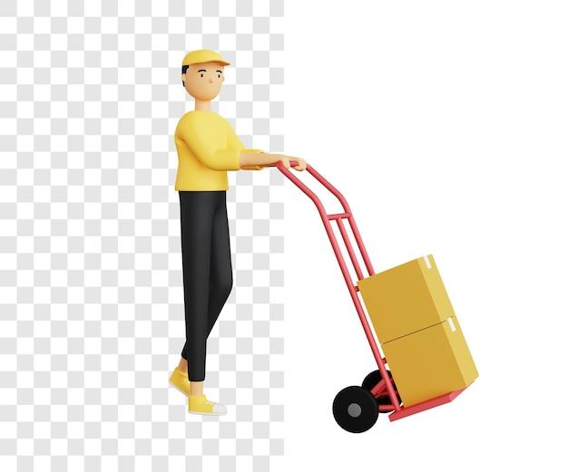 3d concetto di invio di merci utilizzando un carrello