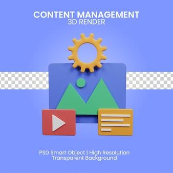 Illustrazione di gestione dei contenuti 3d isolata