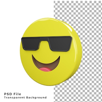 3d cool emoticon icon rendering di alta qualità file psd