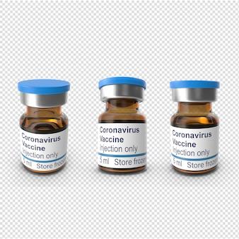 Bottiglia di vaccino contro il virus corona 3d isolata