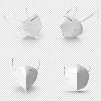 Maschera medica bianca del virus della corona 3d isolata Psd Premium
