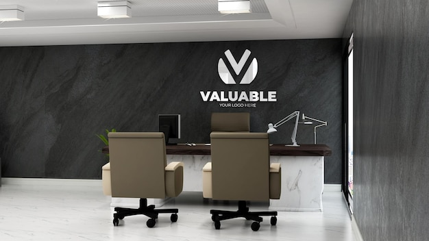 Modello di logo aziendale 3d nella moderna stanza del manager dell'ufficio