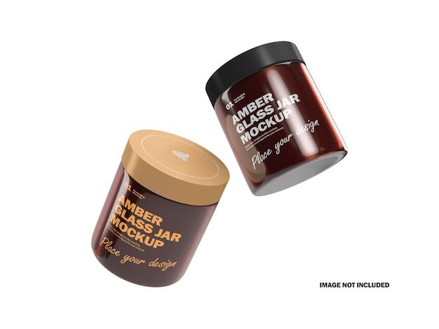 Barattoli di crema 3d con mockup di prodotti cosmetici in vetro ambrato