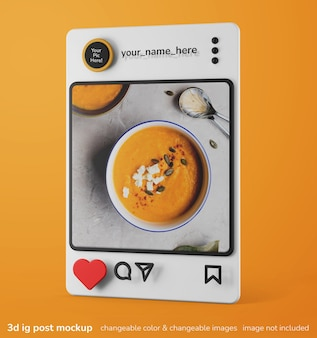 Mockup creativo 3d di singole app di instagram mockup di interfaccia post frame
