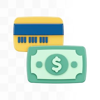 Carta di credito 3d con soldi